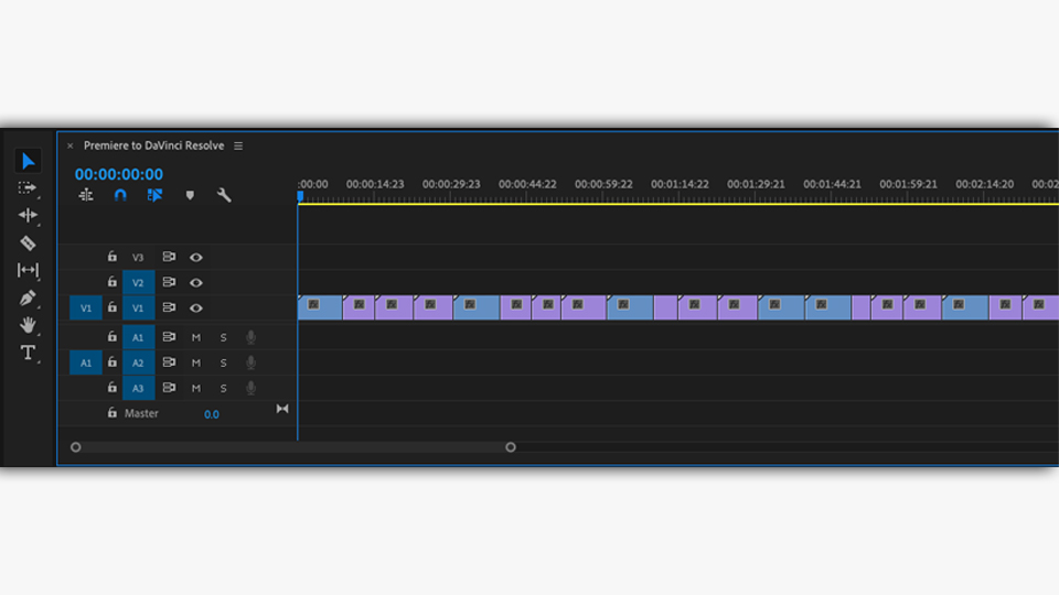 An Adobe Premiere Pro timeline after being flattened to prepare for export to Blackmagic DaVinci Resolve for color grading.