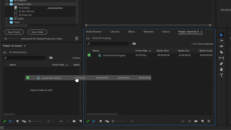 A screenshot of an editor sharing a sequence between two Premiere Pro projects inside of the same Production.