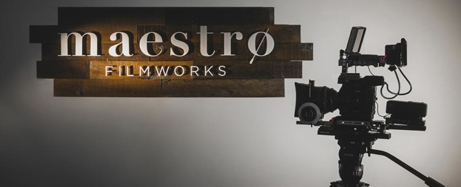 Maestro Filmworks sign and cinema camera.